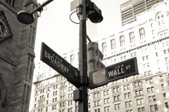 Sign wall street in Brooklyn New York City America. Sign of wall street in Brooklyn New York City America Stock Images