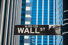 Sign for Wall Street in New York City Stock Image