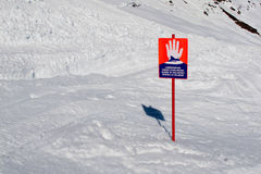 Sign warning for avalanches. Avalanche just missed the avalanche warning sign Stock Photo