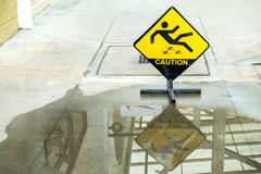 Sign warning of caution wet floor. A Sign warning of caution wet floor Royalty Free Stock Images