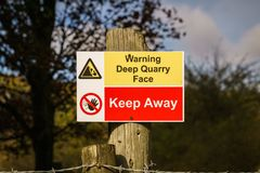Sign: Warning deep quarry face keep away Royalty Free Stock Image