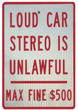Sign Warning Of Fine For Loud Car Stereo. Warning sign about loud stereo music from car Max fine $500 dollars royalty free stock photo
