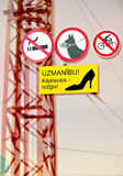Sign Warning Girls in High Heels in Riga, Latvia Stock Photo