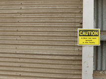 A sign warning that insecticide K-Obiol has been sprayed at this grain storage facility in Dunolly, Central Victoria Royalty Free Stock Photos