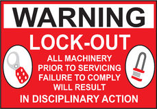 Sign Warning Lock Out in Vector Royalty Free Stock Image