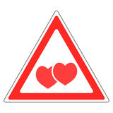 Sign warning about love Valentine`s day Stock Photos