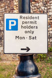 Sign warning motorists 'Residents permit holders only' Royalty Free Stock Image