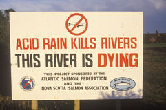 A sign warning this river is dying Royalty Free Stock Photo
