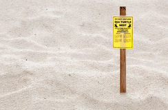 Turtle Nesting Sign Stock Photos