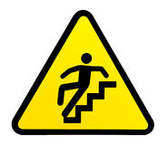 Sign warning for slippery stairs when wet Stock Photos