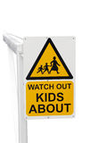 Sign Warning to Watch out for Children. Isolated with path Royalty Free Stock Photo