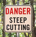 A sign of Warning towards the Deep Cutting that is within the path ahead. Royalty Free Stock Photo