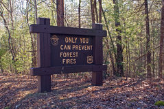 Sign warning Only You Can Prevent Forest Fires Royalty Free Stock Image