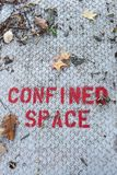 Confined Space Sign. A sign warns of confined space in bright red royalty free stock photo