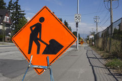Sign Warns of Construction Stock Photography