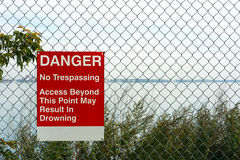 Sign warns of drowning Stock Image