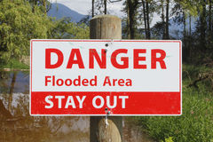 Sign Warns of Flooded Area Stock Images