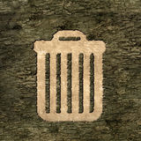 Sign wastebasket on the bark Royalty Free Stock Photo