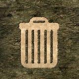Sign wastebasket on the bark Royalty Free Stock Photo