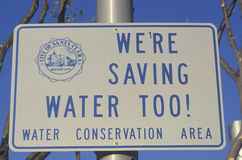 A sign for water conservation Royalty Free Stock Image