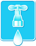 Sign with water drop and tap Stock Photography