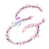 Sign ``&`` of watercolor pink and purple flowers, isolated hand drawn on a white background Stock Image