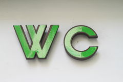 Sign of WC. Green sign WC for toilet Royalty Free Stock Photos