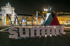 A sign for the Web Summit. LISBON, PORTUGAL - NOVEMBER 08, 2017: A sign for Europe`s biggest tech conference, the Web Summit, at Commerce Square Stock Photo