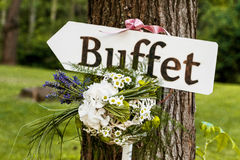 Sign wedding reception. At outdoor Royalty Free Stock Image