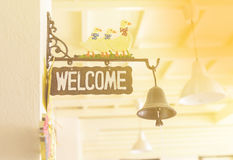 Sign welcome bell of the house. Royalty Free Stock Images