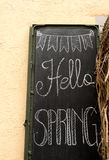 Sign welcoming Spring. In Stein am Rhein stock images