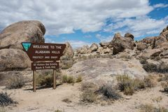 LONE PINE, CALIFORNIA: Sign welcoming visitors to the Alabama Hills Recreation Area. This protected area is known. Sign welcoming visitors to the Alabama Hills royalty free stock image