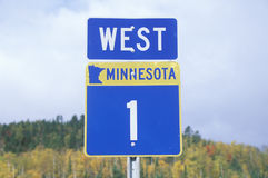 A sign for 1 west in Minnesota Stock Photos