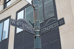 Sign for West 6th Street and Congress Avenue in Austin, Texas. Sign at the intersection of West 6th Street (Pecan Street) and Congress Avenue in the Congress royalty free stock image