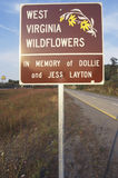 A sign for West Virginia Wildflowers Royalty Free Stock Photography