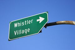 Sign for Whistler Village. Stock Photo