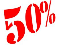 50% sign on white background