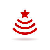 Sign wi-fi in the form of a Christmas tree with star. Stock Photos