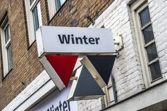 Sign From The Winter Shop At Amsterdam East The Netherlands 2018.  royalty free stock image