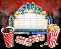 Sign With Popcorn And Cola Royalty Free Stock Photography