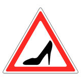 Sign woman`s Shoe in red triangle, woman driving car Stock Photography