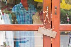 Sign wood door Close Open shop Stock Photos