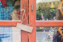 Sign wood door Close Open shop Royalty Free Stock Photos