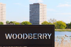 Sign for Woodberry Wetland in London. Sign for the newly-opened Woodberry wetlands nature reserve at Woodberry Down in London on a sunny day stock photo