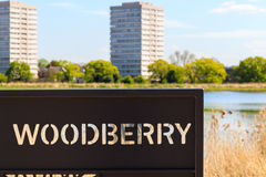 Sign for Woodberry Wetland in London. Sign for the newly-opened Woodberry wetlands nature reserve at Woodberry Down in London on a sunny day royalty free stock photos