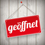 Sign Wooden Background geoeffnet Stock Photo