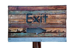 The Sign wooden of exit way Royalty Free Stock Images
