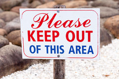 Sign Stating Please Keep Out of This Area Royalty Free Stock Photography