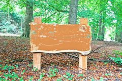 sign in the woods. Empty old wooden sign in the woods Royalty Free Stock Image