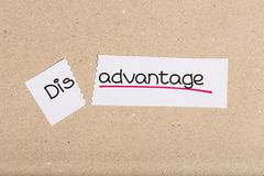 Sign with word disadvantage turned into advantage. Two pieces of white paper with the word disadvantage turned into advantage Royalty Free Stock Images